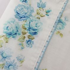 Vintage Double Flat Sheet JC Penney Fashion Manor White w/ Blue Floral Flowers