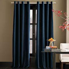 Velvet Window Panel - Regal Blue   west elm