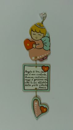 Angelo con preghiera cm 30 Cold Porcelain, Christmas 2019, Paper Mache, 3rd Birthday, Polymer Clay, Quotes, Handmade, Inspiration, Enamels