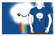 My Happy Kawaii Rainbow Cloud, t-shirts in different colors, iPhone cases, and totes.