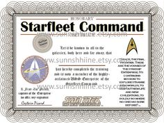 Starfleet Command Certificate Star Trek Captain by sunnshhiine, $4.40