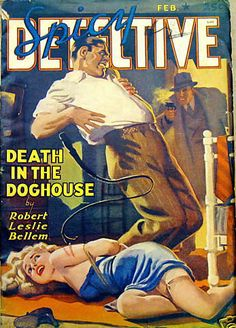 Spicy Detective 1942, pulp dame woman girl prisoner captive hostage tied bound danger peril crime gun pistol shot rescue whip