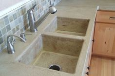 How to Make a Concrete Sink. Love the color & separate bins.