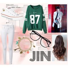 Jin ideal type by shinee-panda on Polyvore featuring polyvore fashion style Frame Denim Converse claire's H&M