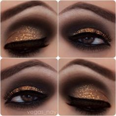 Smokey Sparkly Eye. MACs carbon on crease soft brown blended out around eyes (include bottom.) Naked Palette Virgin on brow bone. Pat Makeup Forever diamond dust on lid w/o medium. Stila onyx pencil on water line Inglots gel liner on top lid (use angel brush)