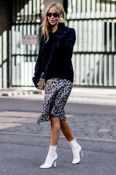 Copenhagen Fashion Week street style, white ankle boots totally elevate this otherwise mundane look (I completely agree! White Ankle Boots, Ankle Boots Dress, Booties Outfit, Calf Boots, Black Tights, News Fashion, Fashion Models, Trendy Fashion, Style Fashion