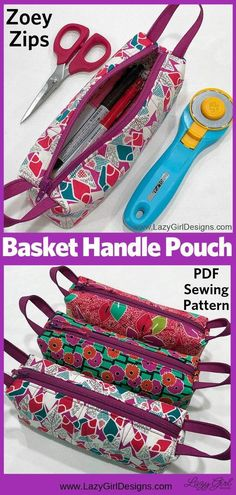 Zipper Handle Pouches! Use part of the zipper for handles on each end. Zipper pouches will keep you organized at home and on the go! Small zipper pouches are wonderful in the sewing room, suitcase organization, or a pencil case, and more. Zoey Zips sewing pattern by Lazy Girl Designs #ZipperPouch #Sewing #Zipper Pencil Case Pattern, Pouch Pattern, Easy Sewing Patterns, Sewing Tutorials, Bag Patterns, Sewing Tips, Small Zipper Pouch, Zipper Bags, Lazy Girl Designs
