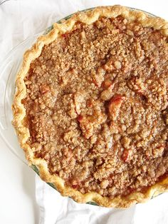 Rhubarb Sour Cream Crumble Pie | the kitchen paper