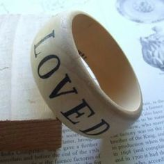 You Are Loved wooden bangle bracelet from Paloma's Nest.