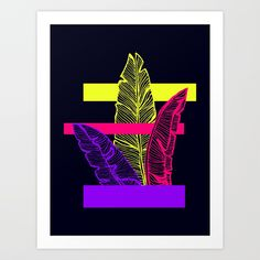 Buy Neon Leaves #society6 #tropical Art Print by designdn. Worldwide shipping available at Society6.com. Just one of millions of high quality products available.