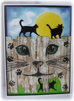 Billy's Fence | Visible Image created by Jane Tyrrell - Curious Cats - cat face stamp