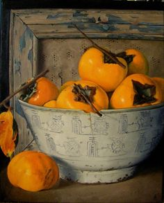 Painting of persimmons, such a delicious and quirky seasonal fruit. Artodyssey: Betty Anderson