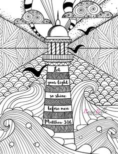 Hand drawn artistically ethnic ornamental patterned Lighthouse with clouds in doodle, zentangle tribal style for adult coloring book, pages, tattoo, t-shirt or prints. Sea vector illustration: compre este vector en Shutterstock y encuentre otras imágenes. Doodle Art Drawing, Zentangle Drawings, Art Drawings, Doodles Zentangles, Easy Zentangle, Hand Doodles, Manga Drawing, Mandala Design, Mandala Art
