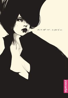 """I love how her neck is illustrated.  You have to look close.  Text says:  """"When the night comes...be afraid of me"""""""