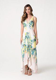 Print Draped Maxi Dress