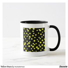 Yellow Stars Mug #Yellow #Star #Astronomy #Space #Coffee #Tea #Chai #Mug