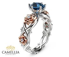 Unique Blue Topaz Ring 14K Two Tone Gold Topaz by CamelliaJewelry
