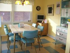 Sunny yellow and blue sky modern day retro kitchen. Very cheerful.