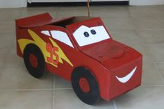 cars cardboard box cars for kids | Cardboard Lightning McQueen Race Car