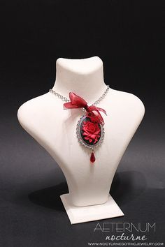 Red rose Gothic necklace - pendant with cameo and Swarovski crystals - Victorian Gothic Jewelry