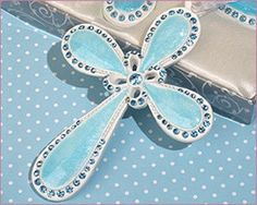 Blessed Events Cross Collection  These exclusive  Blessed Events favors are perfect for a christening, communion, confirmation or any other religious event. : Item #1702 - Blue $3.95/ea