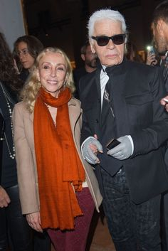 Franca Sozzani and Karl Lagerfeld at the Chanel Exhibit in Milan