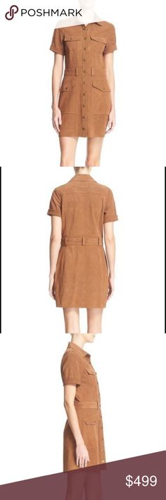 """CURRENT/ELLIOTT 'The Trucker' Leather Shirtdress Soft leather enhances the '70s-inspired style of this versatile shirt dress in a trend-right hue featuring gleaming goldtone buttons.  27"""" front length. Snap-button closure. Spread collar. Short sleeves with folded cuffs. Chest snap-flap pockets; front snap-flap pockets. 100% calfskin leather. Dry clean. Current/Elliott Dresses"""