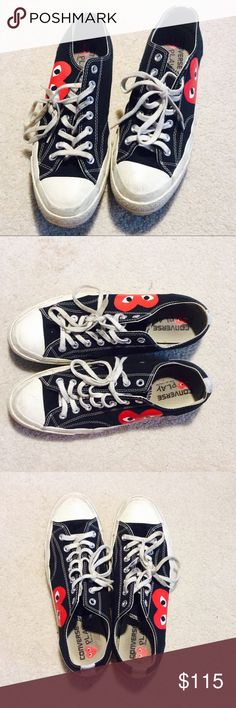 Converse Comme des Garcons CDG Play black low 10M Rare size sold out everywhere. Shoes show signs of wear such as scuffs and dirty laces. Comme des Garcons Shoes Sneakers
