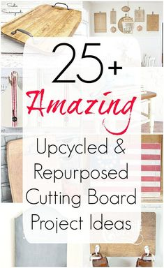 There are dozens of ways to repurpose cutting boards, and this amazing collection of DIY craft project ideas will surely light your creative fire! From signs to furniture to home decor and organization, upcycled cutting boards are something you should never pass up at the thrift store! Find all the repurposing inspiration you need at Sadie Seasongoods / www.sadieseasongoods.com