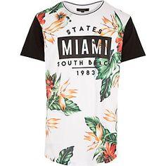 White floral Miami print curved hem t-shirt