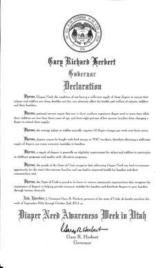 UTAH - Governor Gary Herbert's proclamation recognizing Diaper Need Awareness Week (Sep. 26 - Oct. 2, 2016) #diaperneed diaperneed.org