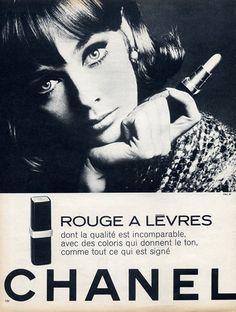 Chanel (Cosmetics) 1966 Lipstick Chanel Makeup Looks, Chanel Beauty, Beauty Ad, Luxury Beauty, Beauty Products, 60s Makeup, Vintage Makeup, Vintage Chanel, Vintage Beauty