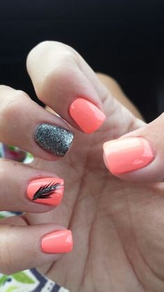 Peach nail w/ feather design! Love Nails, How To Do Nails, Fun Nails, Pretty Nails, Feather Nail Art, Feather Design, Spring Nails, Summer Nails, Cute Nail Colors