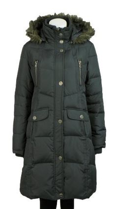 Ellabee Down Women's Quilted Jacket - Faux Fur Hooded Trim Coat - Gray Small Ellabee. $165.00. Save 45%!