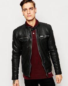 Image 1 ofSuperdry Leather Biker Jacket