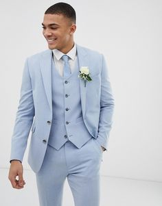 Find the best selection of ASOS DESIGN wedding skinny suit jacket in blue cross hatch. Shop today with free delivery and returns (Ts&Cs apply) with ASOS! Wedding Men, Wedding Suits, Costumes Bleus, Baby Blue Suit, Baby Blue Weddings, Blue Tuxedos, Asos, Skinny Suits, Slim Suit