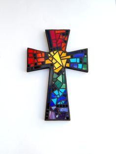 "Large Mosaic Wall Cross, Black with Rainbow Glass, 15"" x 10"", Handmade Stained Glass Mosaic Design by GreenBananaMosaicCo"