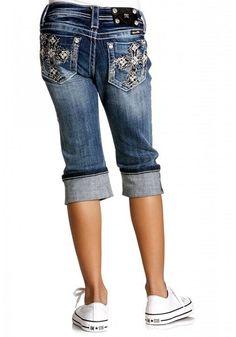 d9d27ca1a3 Miss Me Girl's Denim Capri with Rough Sketched Border - LT 41 $78 Kids  Western Wear