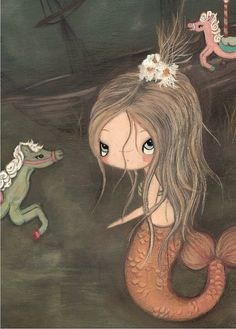 original carnival painting mermaid Art Painting por thepoppytree