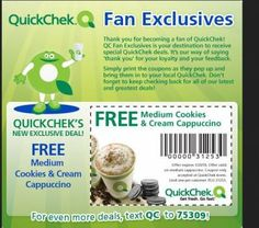 QuickChek- Coupon for FREE Medium Cookies and Cream Cappuccino #coupon #freebie #cappuccino #quickchek