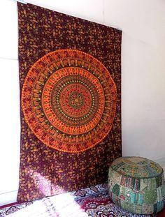 Indian Mandala Tapestry, Hippie Bohemian Wall Hanging Mandala, Twin Bedspread #Handmade #Mandala