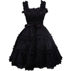 Partiss Women's Black Ruffle Sweet Love Lolita Dress at Amazon Women's... ($59) ❤ liked on Polyvore featuring dresses, ruffle dress, frill dress, flounce dress, frilly dresses and flouncy dress