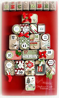 """Advent Calendar - One 14"""" x 24"""" magnetic board, 24 small metal hinged tins w/magnet strips attached to backs. (Arrange on board in the shape of a Christmas Tree), decorative paper, embellishments"""
