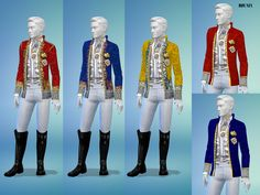 Historic formal jacket, for males and females comes in 5 colors as shown.  Found in TSR Category 'Sims 4 Female Formal'