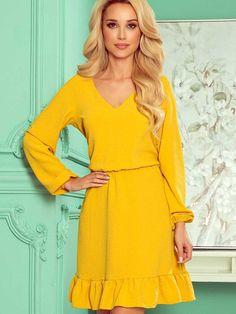 Elegantné šaty na leto 295-6 horčicové