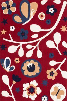 Tapis enfant rouge Nature 133x190 cm