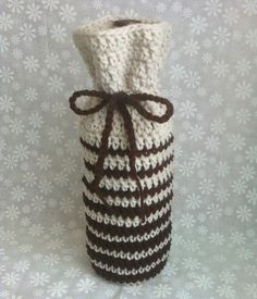 Hand Crocheted Wine Bottle Cozy Bag - Offwhite Chocolate Brown