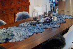 BLUE doily table runner.  I can picture one in soft pastel colors for Easter!
