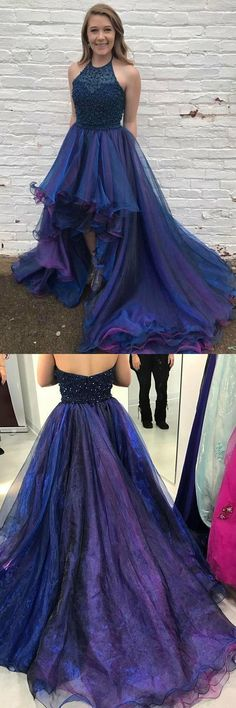 Halter Beaded Top High Low Popular Charming Long Prom Dresses,Halter Neck Backless A Line Long Royal Blue Organza Top Beading Prom Dress Navy Blue Prom Dresses, High Low Prom Dresses, Prom Dresses 2018, Cheap Prom Dresses, Prom Party Dresses, Formal Dresses, Dress Prom, Formal Wear, Dress Long