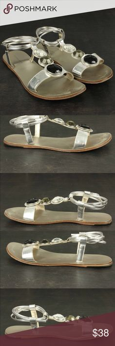 CYNTHIA VINCENT Sz 8 Three Stones Grecian Sandals DESCRIPTION:CYNTHIA VINCENT Three Stones Grecian Sandal Shoes Silver Gladiator Strappy Original box included CONDITION: Very Good Shoe trees not included. MATERIAL: Leather TAGGED SIZE: 8 Cynthia Vincent Shoes Sandals